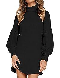 Auxo Femme Robe Pull Longue Sexy Pull à Col Haut Manche Longue Lanterne Pulls Épais Casual Robe Automne Hiver Fille Pull-Over A-Noir M