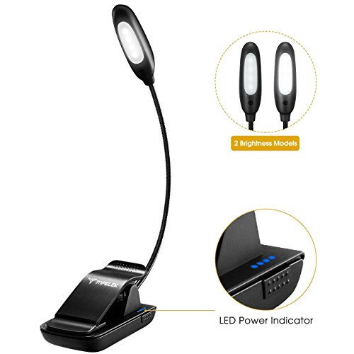 Power Indicator Book Light, Topelek Reading Light with 2 Brightness Modes, USB Rechargeable, Eye Protection Brightness, Illuminate for Kindle, Book, Computer at Home Office for Kids
