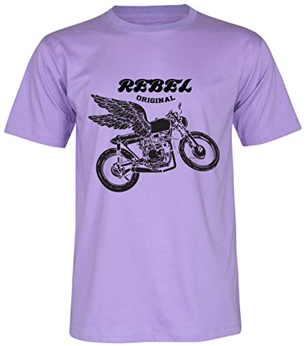 PALLAS Unisex's Motorcycle Club Rebel Vintage T Shirt Purple