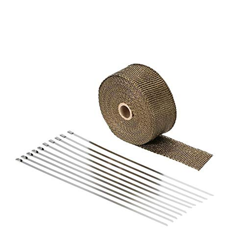 Preisvergleich Produktbild Qiilu Hitzeschutzband Basaltfaser Auspuffband 10M mit 10 pieces Kabelbinder für Fächerkrümmer Thermoband Krümmerband