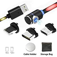 Magnetic USB Cable, 3-in-1 Voice Control LED Light Flash Charging Cable (no data sync), Micro L, type C USB C Cable with 1 Magic Cable Holder for Android Phone Samsung and More.