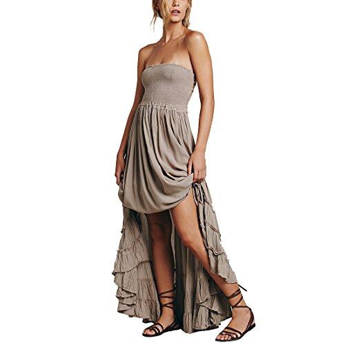 M-Queen Femmes Mode Bandeau Robe Bandage Cotton Robe Été Long Maxi Dress de Cocktail Soirée Mariage Gris