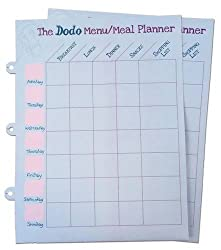 Dodo Pad Weekly Wipe-Clean Menu / Meal Planner: Suitable for Dodo Pad, Acad-Pad Desk Diaries and Dodo Blank Book