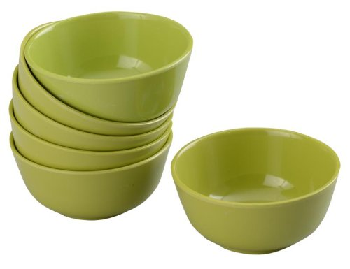 Servewell Round Veg Bowl Set, 10.5cm, Set of 6, Green