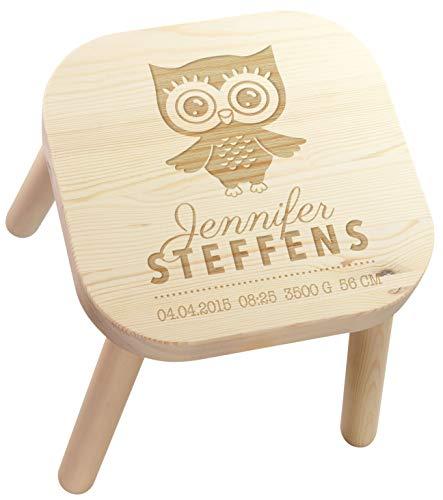 LAUBLUST Kinderhocker Eule Motiv - Personalisiert mit Individueller Wunsch-Gravur - Holz, Sitz-Höhe ca. 28 cm -