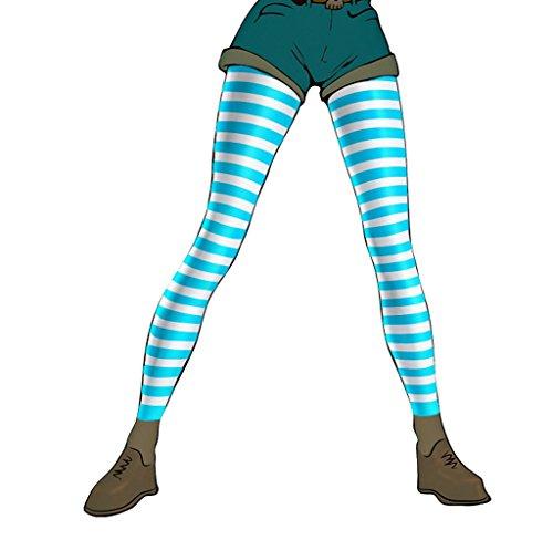 Pariser-Mode Damen-Leggings, Mikrofaser, blickdicht, weiß geringelt mit hellblau, Gr. M (40-42)