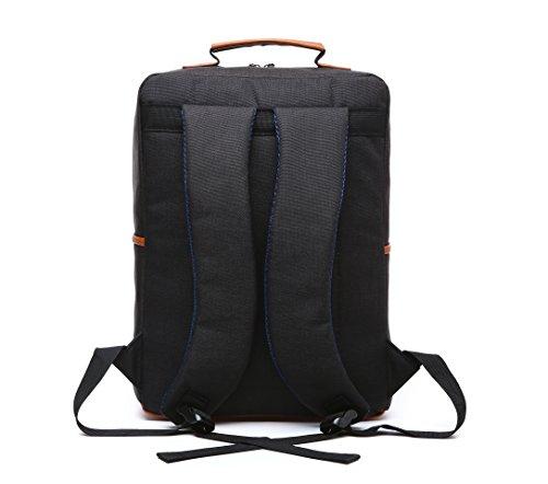 Laptop Rucksack Beutel Schule Tasche für Unisex für 15 Zoll Computer Notebooktasche Laptop-Tasche Rücksack Passend für Dell, Asus, MSI (15 Zoll) (Grau) Schwarz