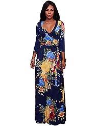 Gaoxu Cintura de extension Impreso vestido de moda, euramerican viento, cuello en V, manga, Big Swing vestido, vestido,Rosa Roja,XL
