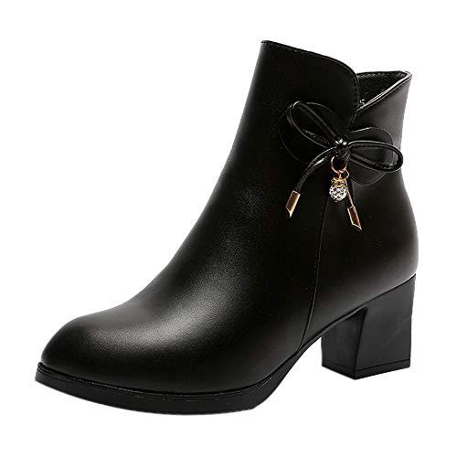 Riou Damen Plateau Stiefeletten mit Blockabsatz British Stil Elegant Freizeit großen großen Nackten Kurze Ankle Arbeits Schuhe (38 EU, Schwarz)