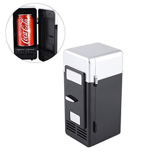 Zerodis USB-Mini-Kühlschrank, elektrisch, Getränkedosen mit LED-Licht für Büro, Schreibtisch, PC, Auto Schwarz (Schreibtisch-kühlschrank)