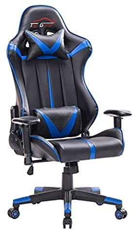 Top Gamer Grande Taille Racing Chaise de Gaming Dossier Haut Siège et Réglable Avec Têtière Support Lombaire Flexible Idéal Pour Chaise ( bleu / noir)