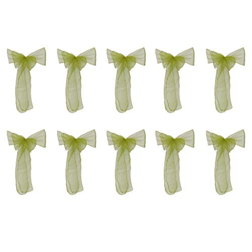 Bogen Zurück Stuhl (TPulling 10 Stück zurück Stuhl Hotel Bankett zurück Blume Stuhlabdeckung Bogen Band Band Stuhlband Hochzeit Dekoration Transparent Streamer Stuhl zurück Blume (Grün, Einheitsgröße))
