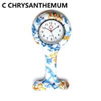 Danigrefinb Silicone Nurse Watch Brooch Tunic Fob Watch with Free Battery Doctor Medical New for Men Women - Style C Chrysanthemum