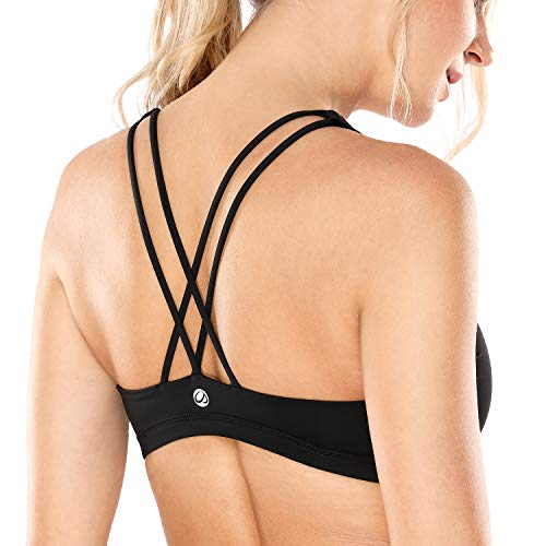 CRZ YOGA Donna Reggiseno Sportivo Yoga Spalline Incrociate Imbottite Nero S