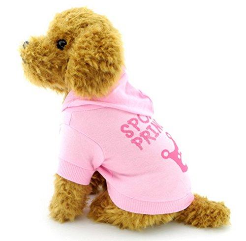 Zunea Kleiner Hund Kleidung für weiblich Sommer Krone Muster Shirt Hoodie Pink