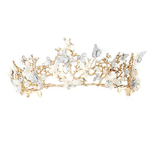 he Golden Sen Deluxe Crown Prinzessin Crown Crown Braut Kopfschmuck Zubehör Halskette Ohrringe ()