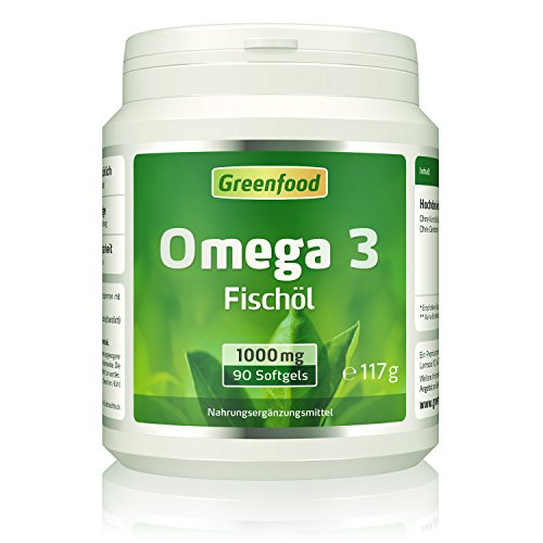 Omega 3 Fischöl, 1000 mg, extra hochdosiert, 90 Kapseln – reich an EPA/DHA. Gut für Herz, Haut, Sehkraft, Gedächtnis und Konzentration. OHNE künstliche Zusätze. Ohne Gentechnik. Softgel-Kapseln.