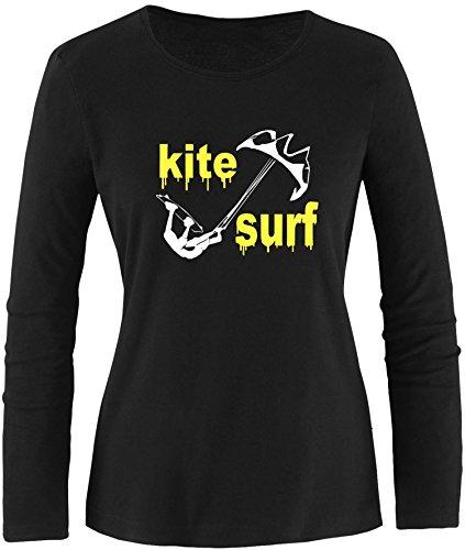 EZYshirt® Kite Surf Damen Longsleeve Schwarz/Weiss/Gelb