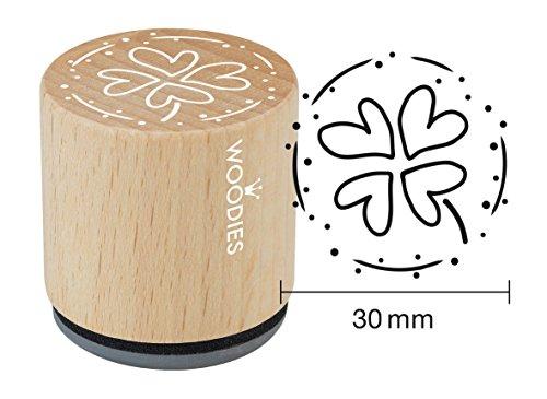 Woodies Stempel Kleeblatt mit Vier Blatt, Holz, 3,4x 3,4x 3,5cm (Kleeblatt Stempel)