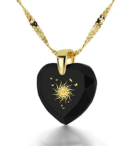 Bijoux Coeur - Pendentif Romantique Plaqué Or avec I Love You to The Sun and Back inscrit à l'Or 24ct sur un Zircon Cubique en Forme de Coeur, Chaine en Or Laminé de 45cm - Bijoux Nano Noir