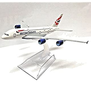 16cm Airbus A380 British Airways Die Cast Metal Desk Aircraft Plane Model
