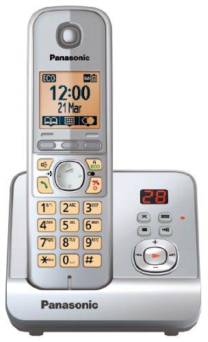 Panasonic KX-TG6721GS Schnurlostelefon (4,6 cm (1,8 Zoll) Display, Smart-Taste, Freisprechen, Anrufbeantworter) schwarz/silber