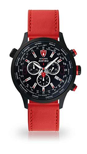 DETOMASO AURINO Montre pour Hommes Chronographe Chronographe analogique Quartz Rouge Bracelet Cuir Noir Cadran Noir DT1061-A-907