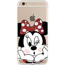 IP6Plus 6SPlus TPU Funda Gel Transparente Carcasa Case Bumper de Impactos y Anti-Arañazos Espalda Cover, Glitter Special Colección Collection, Disney Minnie Mouse, iPhone 6Plus 6SPlus