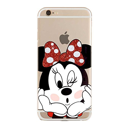 SLIDE IP6 6S Cover in TPU Gel Trasparente Custodia Protettiva, Glitter Special Collection, Disney Minnie Mouse, iPhone 6 6S