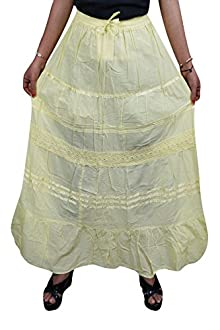 8599af75e4 Indiatrendzs Women Skirts Cotton Solid Gypsy / Bohemian Summer Yellow Long  Skirt