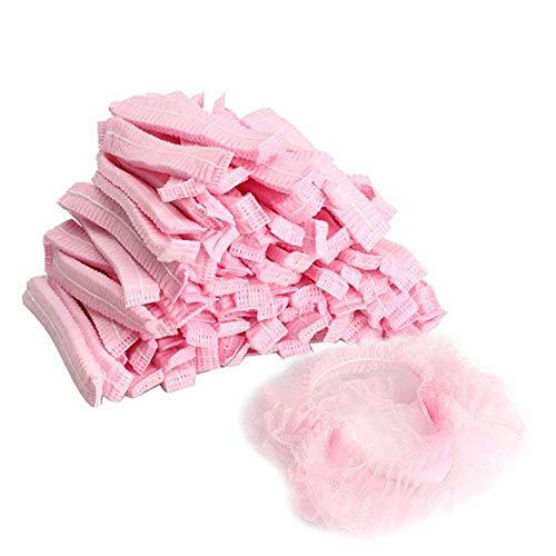 Einweg-Haarschutznetz - 100 Stück Einweg-Vlies-Bouffant-Kappen für Labor, Krankenschwester, Lebensmitteldienst, Gesundheit, Krankenhaus, 21 Inches Pink