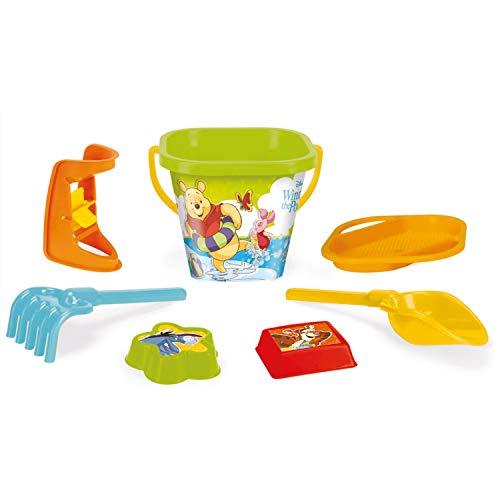 Wader 77142 Eimergarnitur Disney Winnie Pooh mit Eimer, Sieb, Sandmühle, Schaufel, Rechen und 2 Sandformen, 7 teilig, bunt