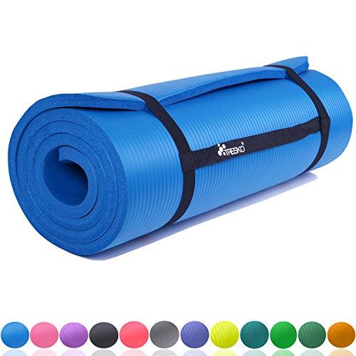 TRESKO Fitnessmatte Yogamatte Pilatesmatte Gymnastikmatte 6 Farben/Maße 185cm x 60cm in 2 Stärken/Phthalates-getestet/NBR Schaumstoff/hautfreundlich, kälteisolierend (Blau, 185 x 60 x 1.5 cm)