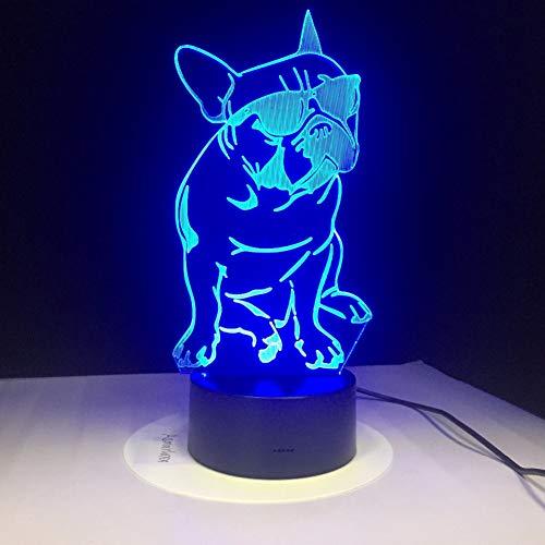 BINGXY Das Tragen der Farbe der geführten Nachtlampen des Sonnenbrille-Hundes 3d der Lampe-7 für Kinder berühren Usb-Tabellen