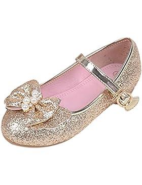 Zhhlaixing Bambini Girls Quality Principessa Bowknot Glitter Leather Scarpe Non-slip Soft Sole Flat Sandals per...