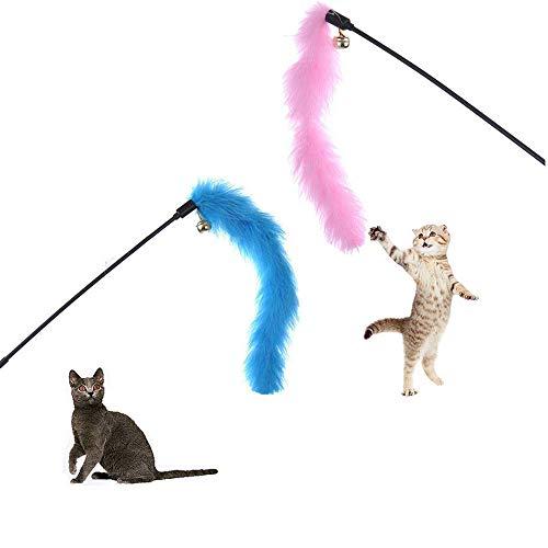 wudidianzi truthahnfedern Mock Katze-Stick springen spaß interaktives Spielzeug für Haustiere kätzchen helfen Form (zufällige Farbe)