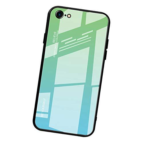 Alsoar Case ersatz für iPhone 6S/ iPhone 6 Hülle,Ultra Dünn 9H Gehärtetem Glas Rückseite+Silikon Rahmen Handyhülle Schutzhülle Premium Stylisch Hülle für iPhone 6S/ iPhone 6 (Grün Cyan) - Ersatz-bildschirm-pink Iphone 6