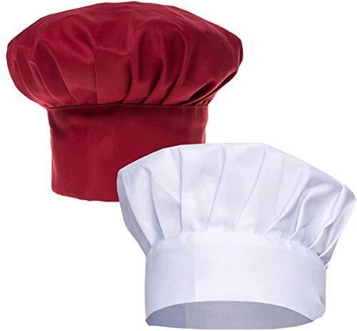 Liuer 2 Stück Verstellbare Baumwolle Kochmütze Küche Kochen Chef Cap für Damen Männer Koch Cupcake Cafe Kellnerin Männlicher Kellner Lebensmittel Restaurants Home Kitchen Catering - Cupcake Chef Kostüm