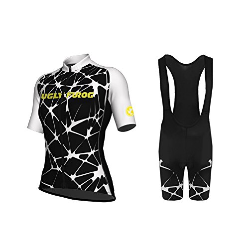 Uglyfrog Bike Wear Designs Erwachsene Damen Radtrikot Trikot+Kurze Hosen Bike-T Full Zip Sommer Top Cycling Anzüge with Gel Pad