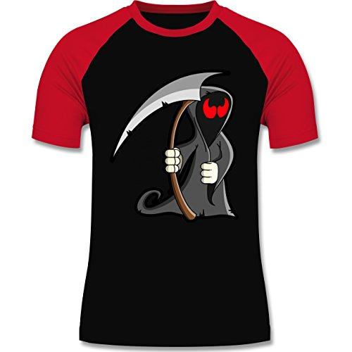 Halloween - Sensenmann - zweifarbiges Baseballshirt für Männer Schwarz/Rot