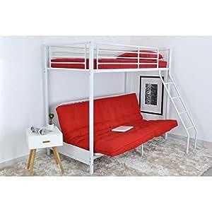 Leijona lit mezzaclic clic-clac 90x190 blanc rouge