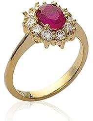 ISADY - Ada Gold Rubis - Bague Femme - Plaqué Or 750/000 (18 carats) - Oxyde de zirconium Rouge