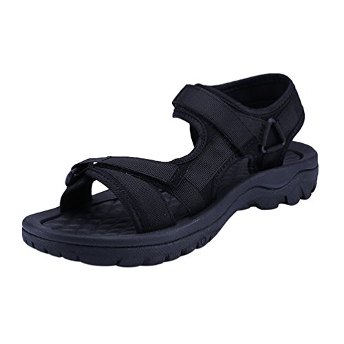 Yiiquanan Herren Outdoor Strand Sandalen Bequemer Schuhe Leichte Sommer Trekking Sandale mit Klettverschluss (Schwarz, 40.5 EU)