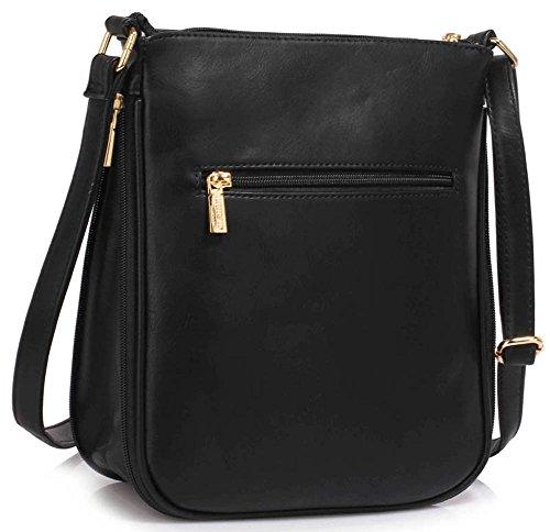 TrendStar Damen Schulter-Handtaschen der Frauen-Modedesigner -Promi Reißverschluss Qualität Faux Leder Crossbody Tasche. A - Schwarz Kreuz Körper Tasche