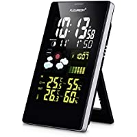 FLOUREON Wireless Weather Station with Indoor/Outdoor Wireless Sensor Color Display Weather Station Alarm Clock With Temperature Alerts, Humidity Monitor, Thermometer and Hygrometer Indicator (Stand, Black)