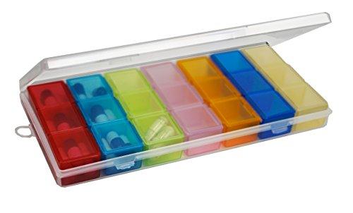 Medikamentendosierer Tablettenbox | Der&Dies Premium Pillenkoffer Pillenbox zur Aufbewahruung unterwegs. (Bunt (3 Fächer mit 7 Gruppen))