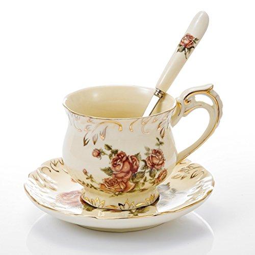 Panbado Kaffeeservice aus Elfenbein Porzellan, mit 250 ml Kaffeetasse, Untertasse und Löffel,...