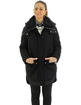 Moncler NOMIA parka donna cappotto in lana con cappuccio bordato