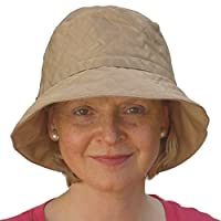 Ladies Bucket Waterproof Quilted Rain Hat in Sahara with UV Sun Protection