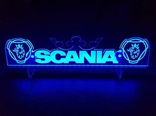 24?V LED Light Neon plaque pour camion Scania Trucker Bleu illuminant Sign Table Couronne Cabine D?coration Accessoires grav? au laser 24?V/5?W
